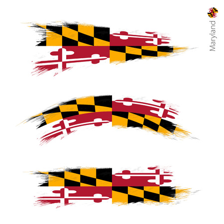 Illustration pour Set of 3 grunge textured flag of US State Maryland, three versions of state flag in brush strokes painted style. Vector flags. - image libre de droit