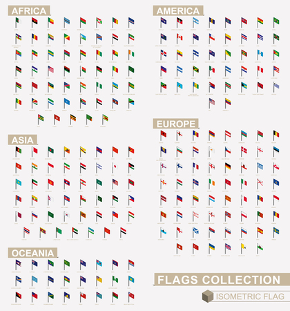 Illustration pour Isometric flag collection of Europe, America, Asia, Oceania, Africa. - image libre de droit