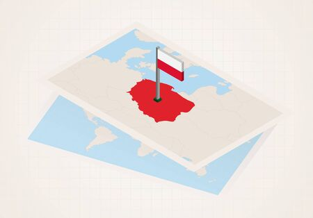 Illustration pour Poland selected on map with isometric flag of Poland. Vector paper map. - image libre de droit