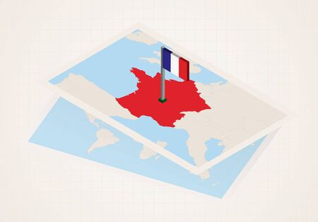 Illustration pour France selected on map with isometric flag of France. Vector paper map. - image libre de droit