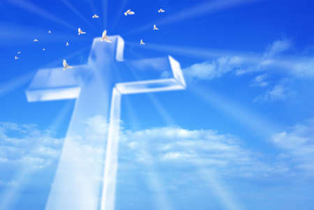 Photo pour Christian cross over a beautiful sky background, for holiday, Christmas, Easter and religion designs - image libre de droit
