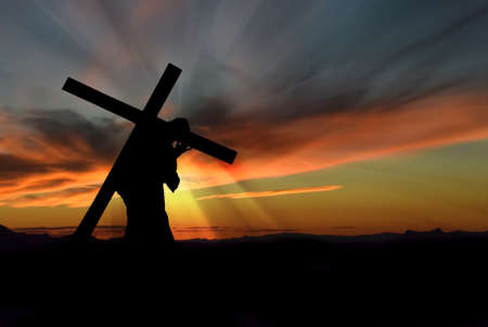 Photo for Christ carrying cross up Calvary on Good Friday over dark and stormy sky - Royalty Free Image
