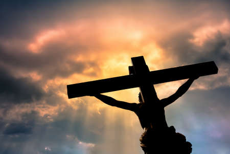 Photo pour Jesus Christ Son of God over dramatic sky background religion and spirituality concept - image libre de droit
