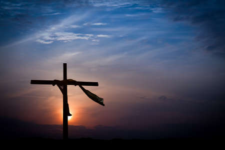 Photo for Dramatic Sunrise Lighting and Easter Cross - Royalty Free Image