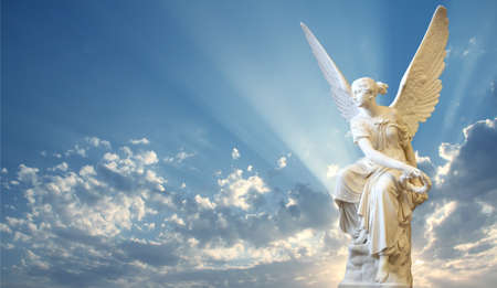 Photo for Beautiful angel in heaven with divine rays of light - Royalty Free Image