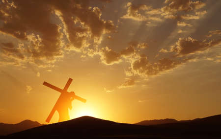 Photo for Christ carrying cross up Calvary on Good Friday over bright sky - Royalty Free Image