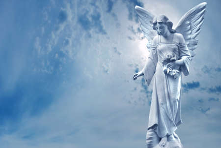 Photo for Angel sculpture on blue sky background concept of Religion - Royalty Free Image