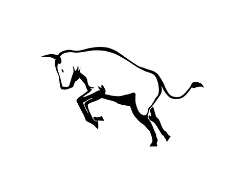 This is an illustration of bull. Bull is transparent. No white shapes.
