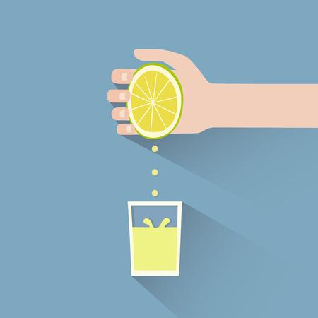 Ilustración de This is a hand squeezing a lemon - Imagen libre de derechos