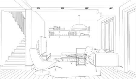 Illustration pour Line drawing of the interior on a white background - image libre de droit