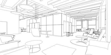 Ilustración de Outline sketch of a interior office space. - Imagen libre de derechos