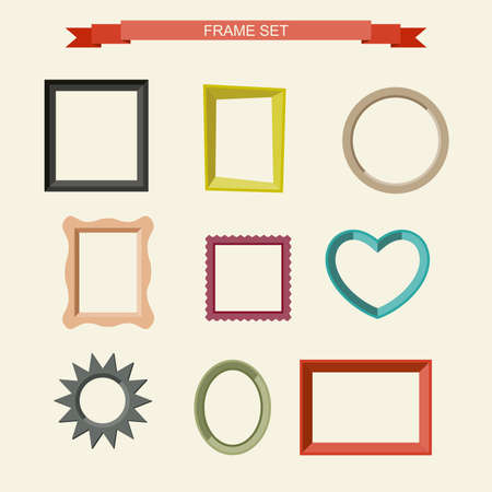 Illustration pour Set of different frames in flat style. Vector illustration - image libre de droit