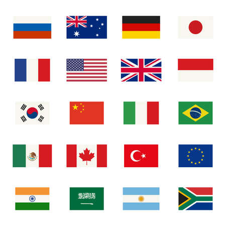 Illustration pour Simple flags icons of the countries in flat style. - image libre de droit