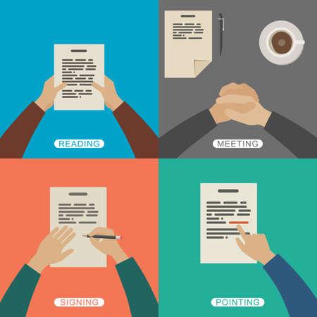 Illustration pour Four scenes of business working. Simple flat illustration with hands. - image libre de droit