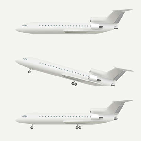 Illustration pour Airplane isolated on white. Realistic vector illustration of airplane taking off and flying plane. - image libre de droit