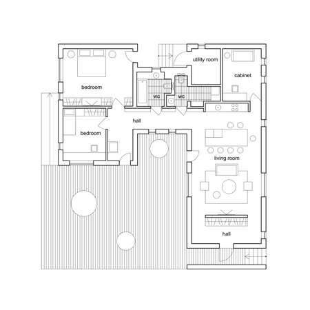 Ilustración de Blueprint on white background. Vector architectural plan of modern house. - Imagen libre de derechos