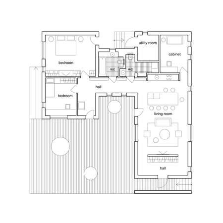 Illustration pour Blueprint on white background. Vector architectural plan of modern house. - image libre de droit