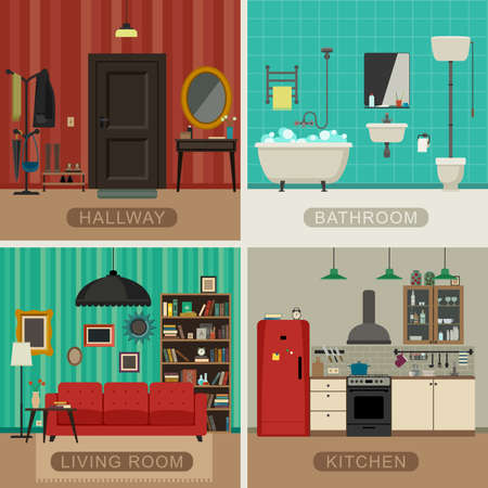 Illustration pour Interiors of living room, kitchen, bathroom and hall. Vector flat illustrations. Basic rooms of apartment. - image libre de droit