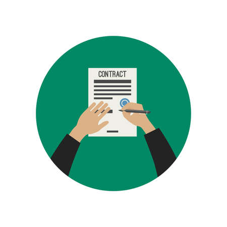 Illustration pour Hand holding pencil and signing contract. Vector flat illustration. - image libre de droit