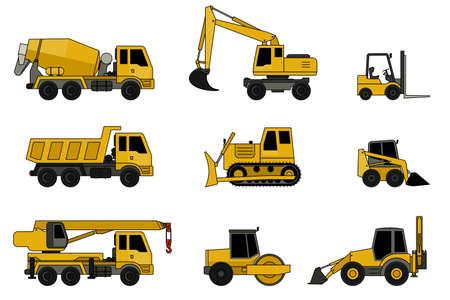 Illustration pour Construction machines icons with line contour. Vector icons of building machinery. - image libre de droit