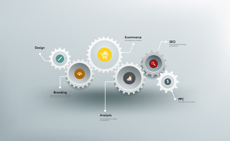 Ilustración de Infographics. The gears communicate with one another. - Imagen libre de derechos