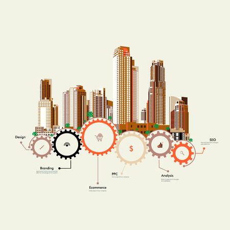 Foto de Skyscrapers stand on the gears - Imagen libre de derechos