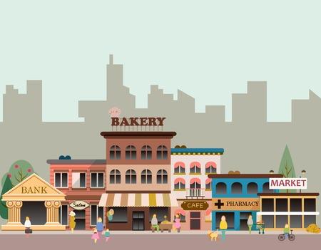 Illustration pour Buildings of small business - image libre de droit