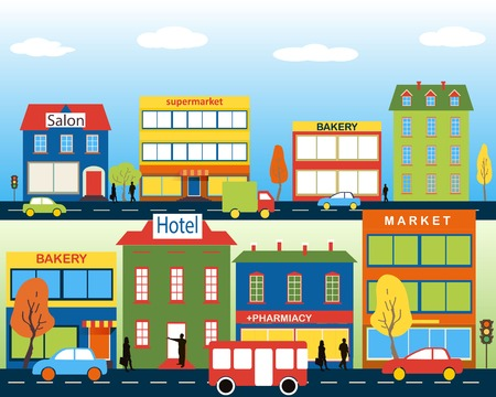 Illustration pour Small town with small and medium business. Set of buildings. Bakery, salon, market and pharmacies. Street with people watching. Vector. For brochures, backgrounds, printed products. - image libre de droit