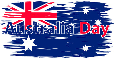 Illustration for Australia Day. The national flag painted with a brush colored inks. Effects flag of the country. Background, grunge, paint, ink, color. Image. Icon - Royalty Free Image