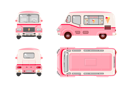 Illustration pour Set stock vector illustration isolated pink Ice cream car, Ice cream on wheels top, front, side, back view flat style white background Element infographic, website, icon - image libre de droit