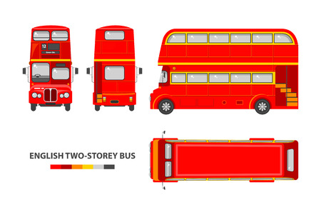 Ilustración de Set stock vector illustration isolated English red double-decker bus top, front, side, back view flat style white background Element infographic, website, icon - Imagen libre de derechos