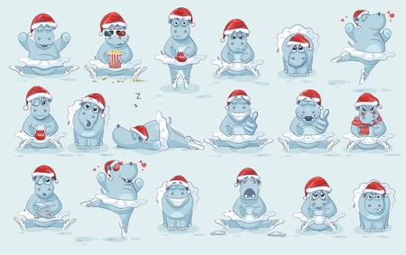 Illustration for Illustrations isolated Emoji character cartoon ballerina Hippopotamus dances ballet stickers emoticons different emotions - Royalty Free Image
