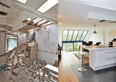 Foto de Modern open kitchen in renovated house with view on a lush garden, before and after - Imagen libre de derechos