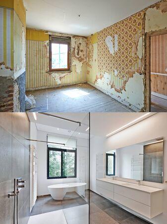 Foto de Renovation of a bathroom Before and after in vertical format - Imagen libre de derechos