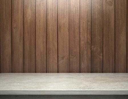 Foto de White concrete table with wooden plank wall - Imagen libre de derechos