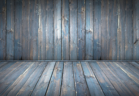 Photo for Blue painted wood table with wooden wall background - Royalty Free Image