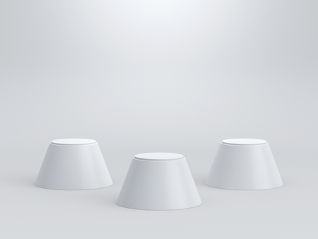 Foto de Empty winners podium on white background. 3D rendering. - Imagen libre de derechos