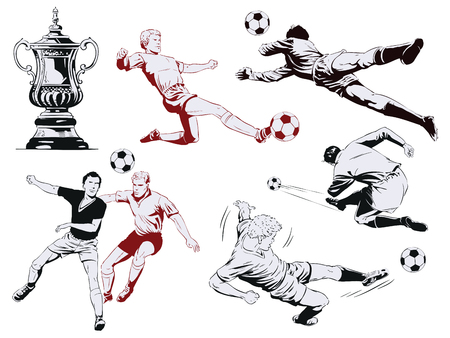 Photo pour Stock illustration. People in retro style pop art and vintage advertising. Set of football players. - image libre de droit