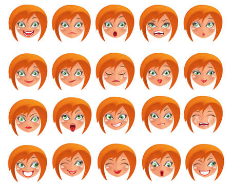 Ilustración de  Cute young girl set with different expressions.A person's face with  emotions, joy, sadness, anger, sadness - Imagen libre de derechos