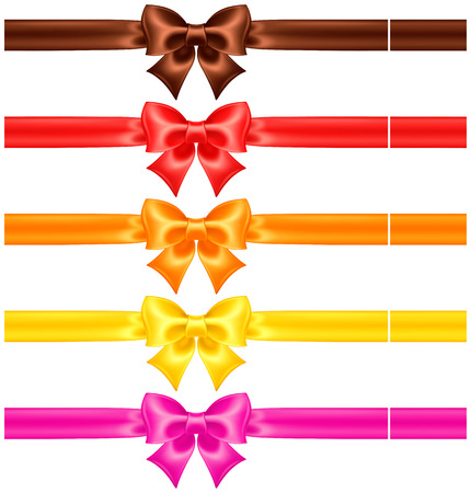 Illustration pour collection of silk bows in warm colors with ribbons     - image libre de droit