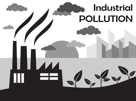 Air pollution of factory with chimneys against the sky  Vector illustration