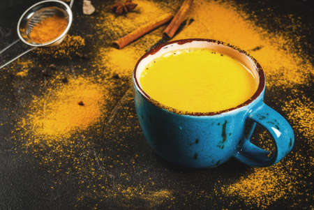 Photo pour Traditional Indian drink turmeric milk is golden milk with cinnamon, cloves, pepper and turmeric. On a concrete table, with spices on the background. In a large cup, Copy space, toned - image libre de droit