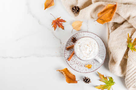 Photo pour Autumn hot drinks. Pumpkin latte with whipped cream, cinnamon and anise on a white marble table, with a sweater (blanket), autumn leaves and fir cones. Copy space top view - image libre de droit