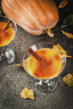 Photo for Fall and winter drinks. Thanksgiving and Halloween cocktails. Pumpkin pie margarita with cinnamon stick, on black stone table. Cozy home, with autumn leaves, plaid, pumpkin, copy space top view - Royalty Free Image