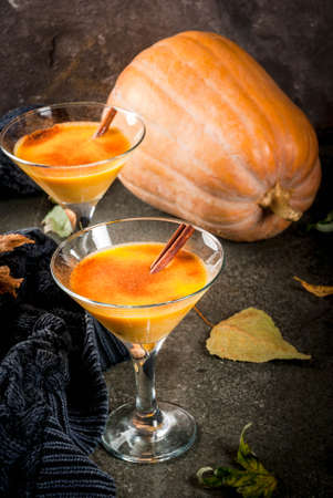 Photo for Fall and winter drinks. Thanksgiving and Halloween cocktails. Pumpkin pie margarita with cinnamon stick, on black stone table. Cozy home, with autumn leaves, plaid, pumpkin, copy space - Royalty Free Image