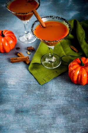 Photo for Autumn spicy pumpkin martini with cinnamon, anise stars and black sesame decoration, dark blue background copy space - Royalty Free Image