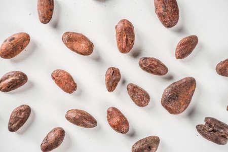 Foto de Cocoa beans on white background  top view copy space - Imagen libre de derechos