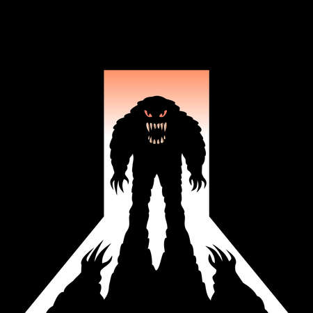 Illustration for Monster with shadow in the open door - Royalty Free Image