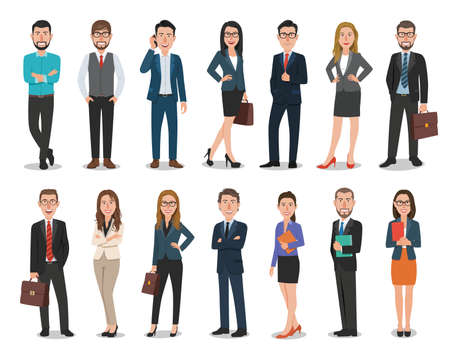 Illustration pour Group of business men and business women characters working in office - image libre de droit