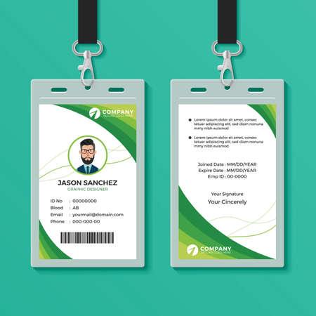 Illustration pour Green Graphic ID Card Design Template - image libre de droit